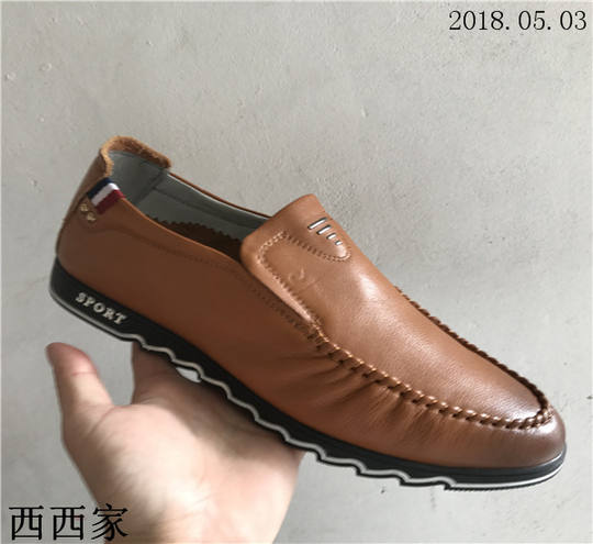 Xixi men's shoes leather 2018 spring and autumn models a pedal casual shoes shock absorber blade front anti-skid wear