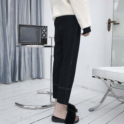 Pants 2017 winter casual fashion wild women Korean Slim slim elastic waist loose straight nine pants