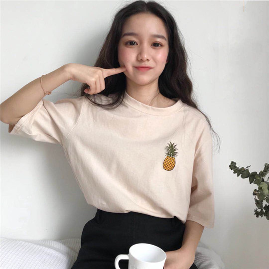 2018 summer Korean college wind simple wild round pineapple T-shirt loose thin short-sleeved shirt women's tide