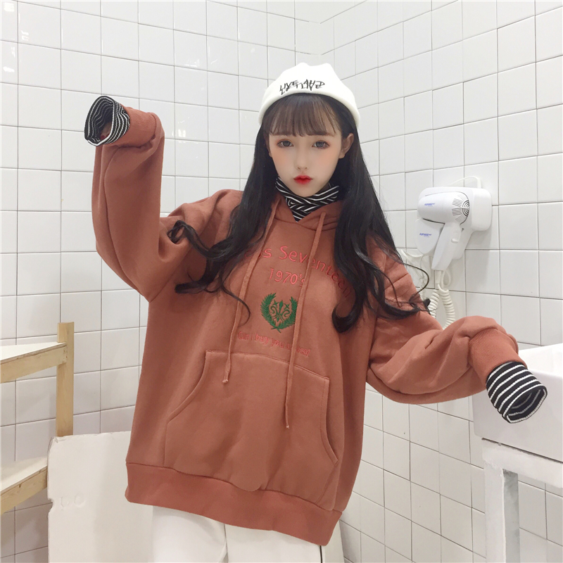 Autumn and winter Korean version of the new stitching stitching two letters embroidered hooded sweater women pullovers student shirt