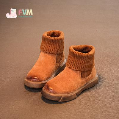 儿童鞋女童短靴马丁靴子真皮秋冬款冬季2018新款秋季棉鞋宝宝加绒