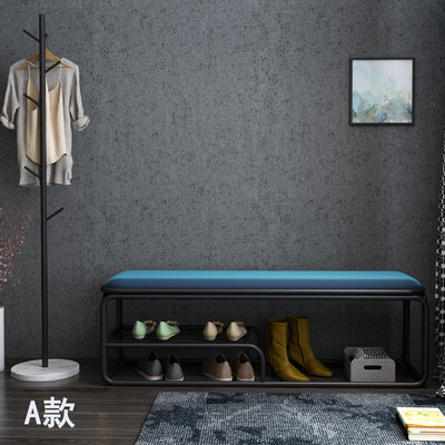 Nordic shoe changing stool shoe cabinet home door wrought iron bench net red ins wind bed end stool sofa stool soft cushion