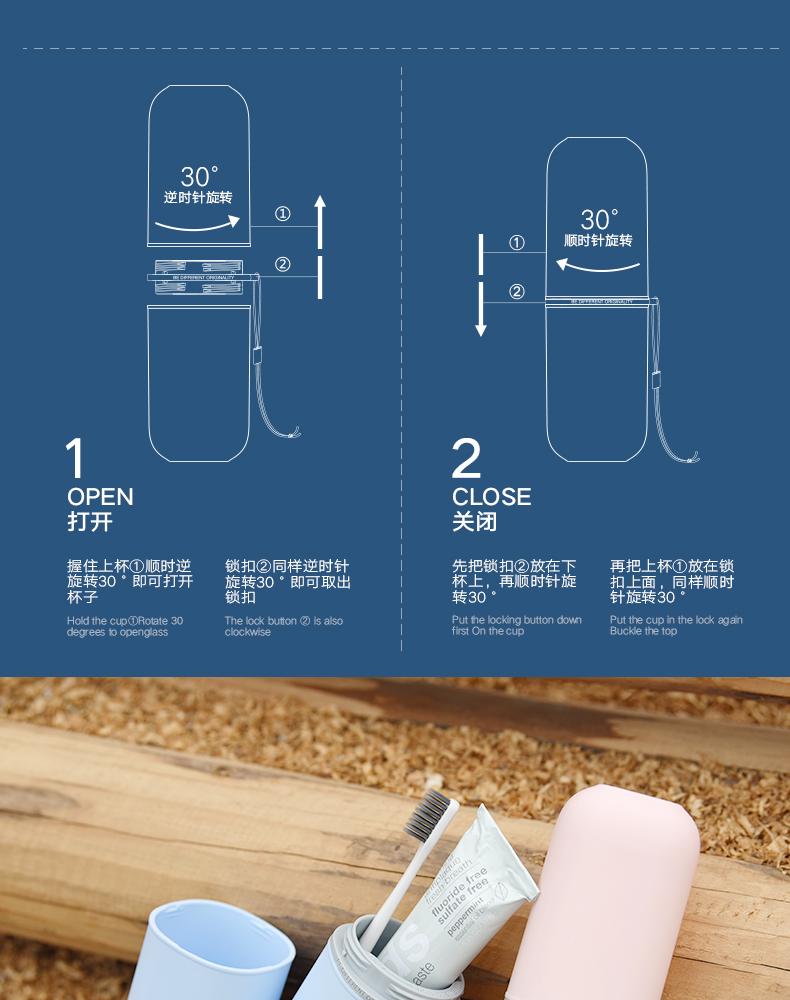 胶囊旅行漱口杯可携式洗漱杯刷牙杯子牙缸牙膏收纳盒牙具套装详细照片