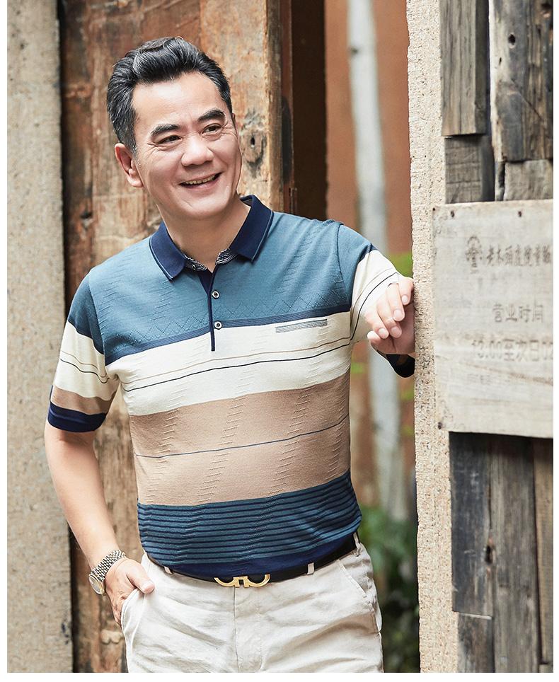 Bố ngắn tay t-shirt nam mùa hè băng lụa trung niên mùa hè của cha ngày quần áo trung niên 40-50 tuổi mùa hè dài tay áo thun polo