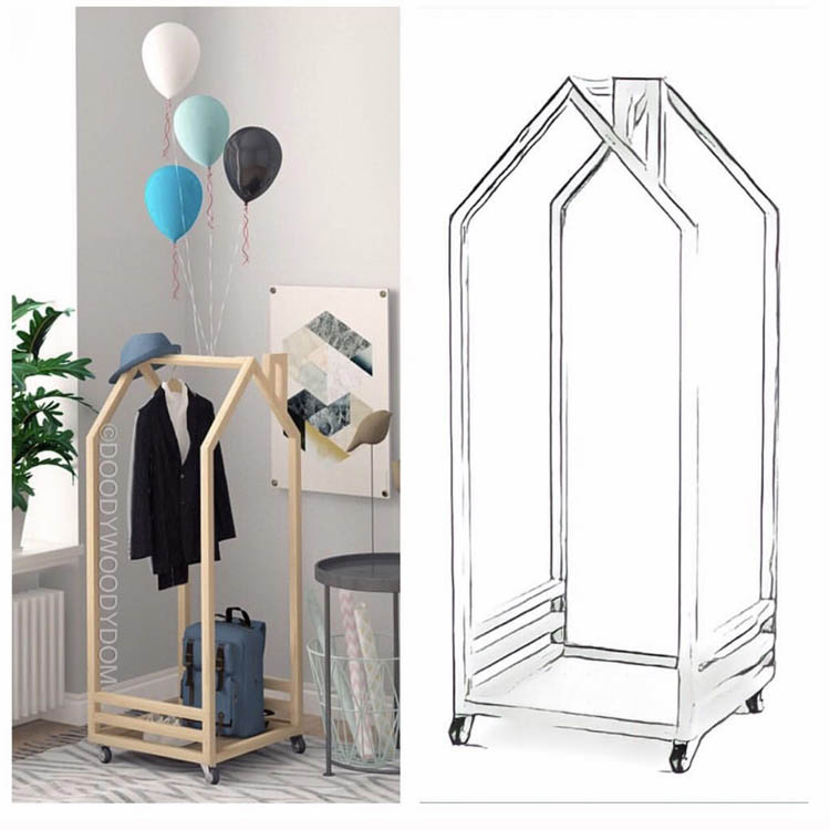 ins custom children's room decorative clothes rack movable floor clothes rack House modeling solid wood hangers