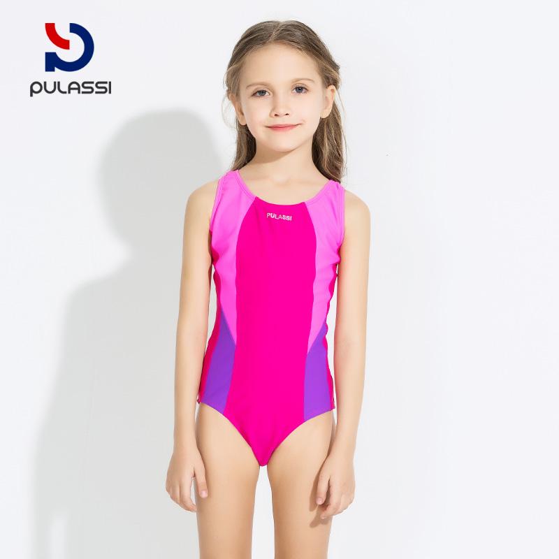 3749b5cb40b21 Plasch children's swimwear girls Siamese professional sports triangle  swimwear primary school children's swimwear girls