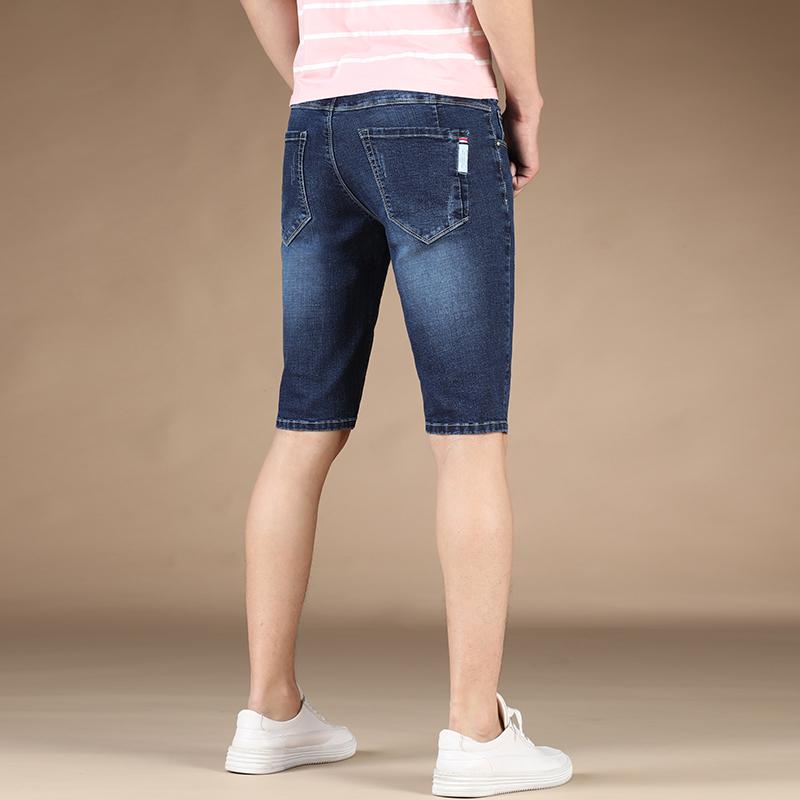 高潮流短裤弹力男夏季超薄款五分裤青年修身大码牛仔v潮流5分中裤