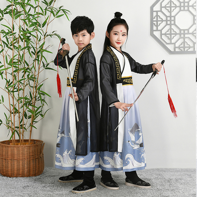 Children ancient Hanfu for boy childrenson young master chivalrous scholar traditional Chinese costume disciple GUI Chinese style performance Costume