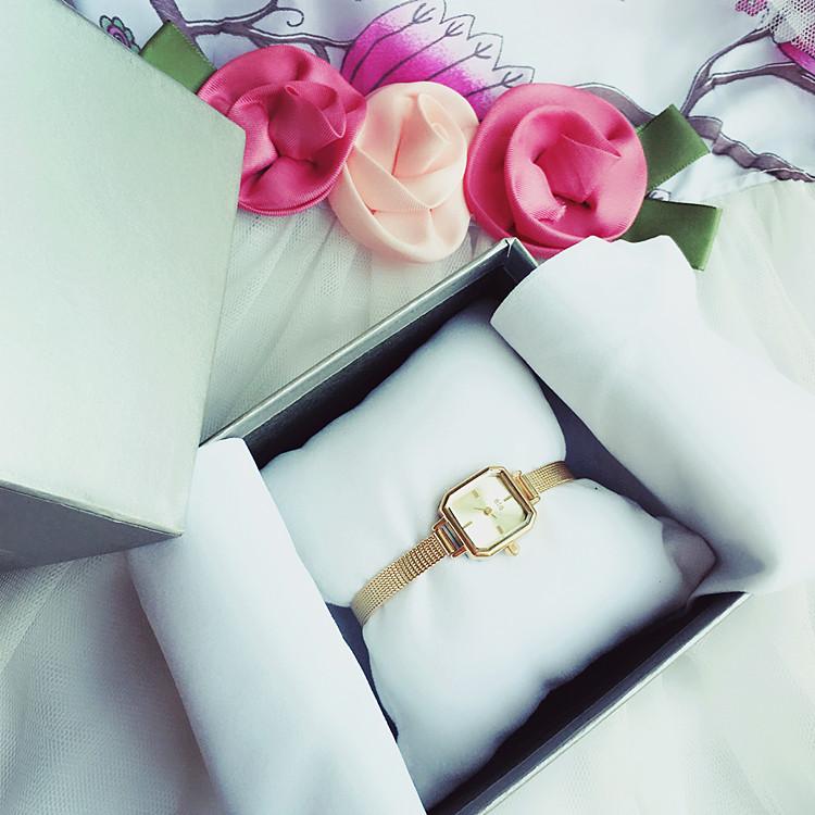 個性手錶日系ete同款復古個性鱷魚紋牛皮表帶方形手表鑲鉆石英細表帶手表