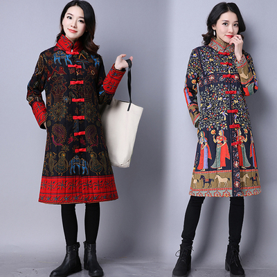 2017 autumn and winter national wind women's retro plate buckle jacket in the long paragraph cotton positioning cotton flower coat coat