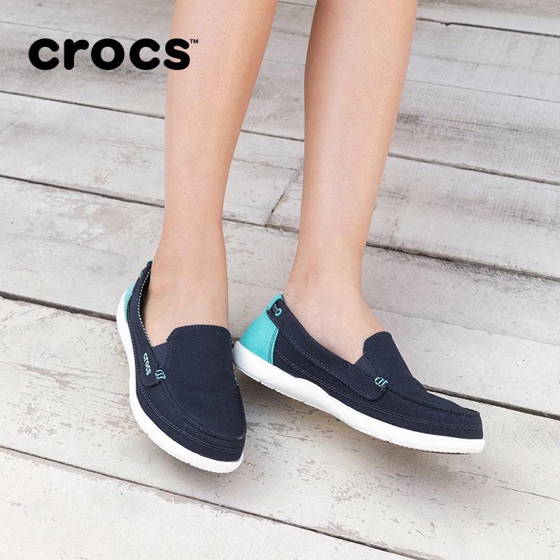 Crocs帆布鞋女卡骆驰夏季潮流百搭徒步透气帆布v帆布板鞋|14391