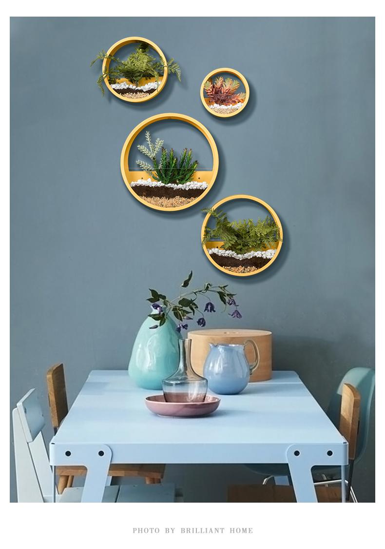 北欧饭厅墙壁挂墙上挂饰创意背景墙植物装饰品墙面仿真绿色植物挂件花详细照片