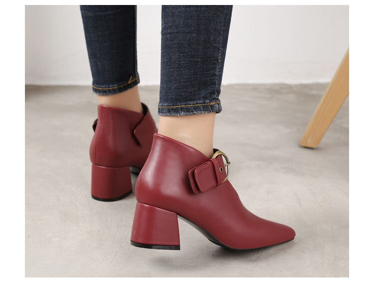 European and American style with new leather retro boots deep V-neck pointed women's shoes buckle belt bare boots winter boots 87 Online shopping Bangladesh