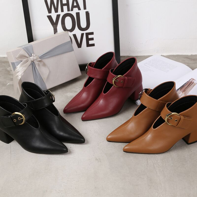 European and American style with new leather retro boots deep V-neck pointed women's shoes buckle belt bare boots winter boots 76 Online shopping Bangladesh