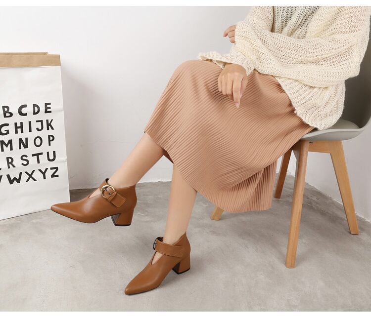 European and American style with new leather retro boots deep V-neck pointed women's shoes buckle belt bare boots winter boots 88 Online shopping Bangladesh