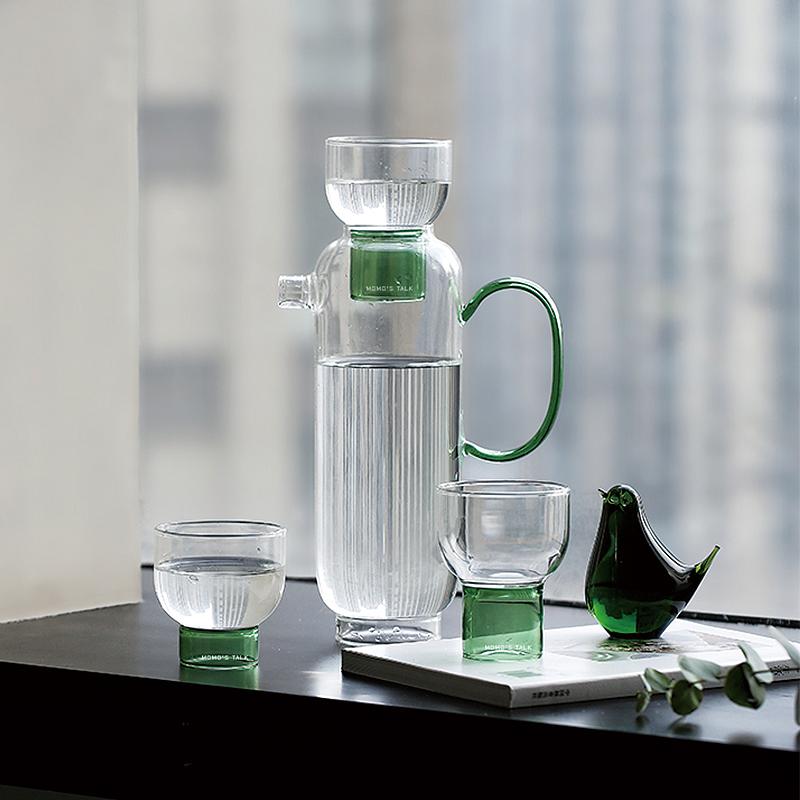 莫语 原创设计 ins风耐热高温带把手玻璃凉水壶大容量果汁冷水壶