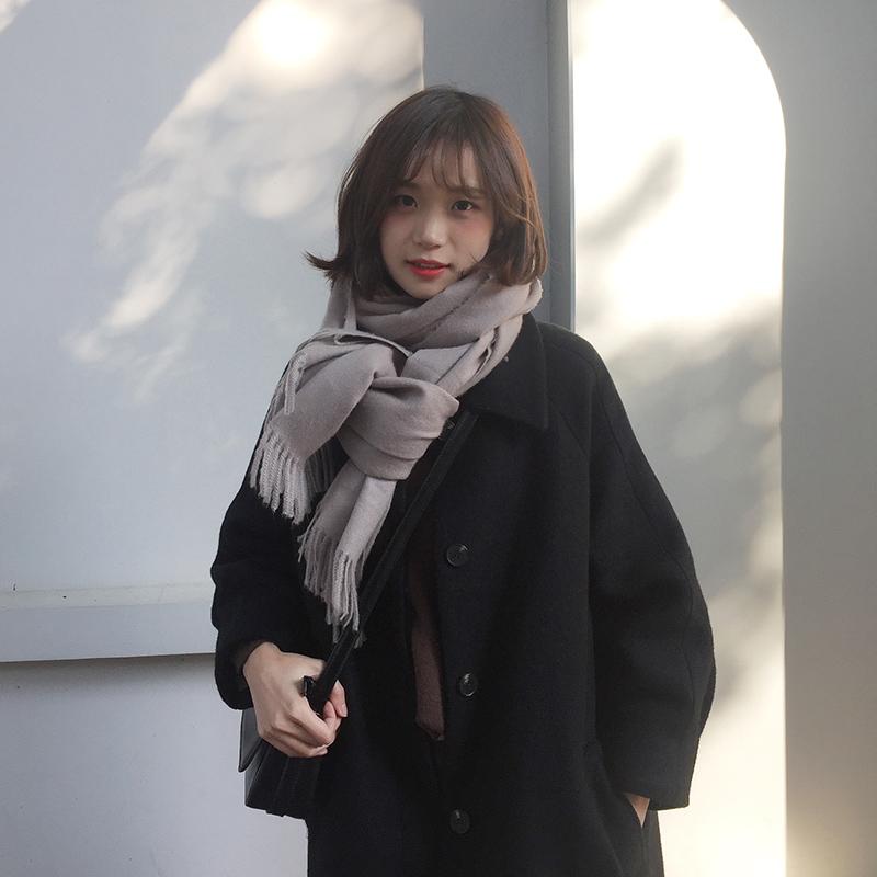 学生毛呢胡楚靓小个子女装2020流行赫本风中长款过膝外套大衣黑色