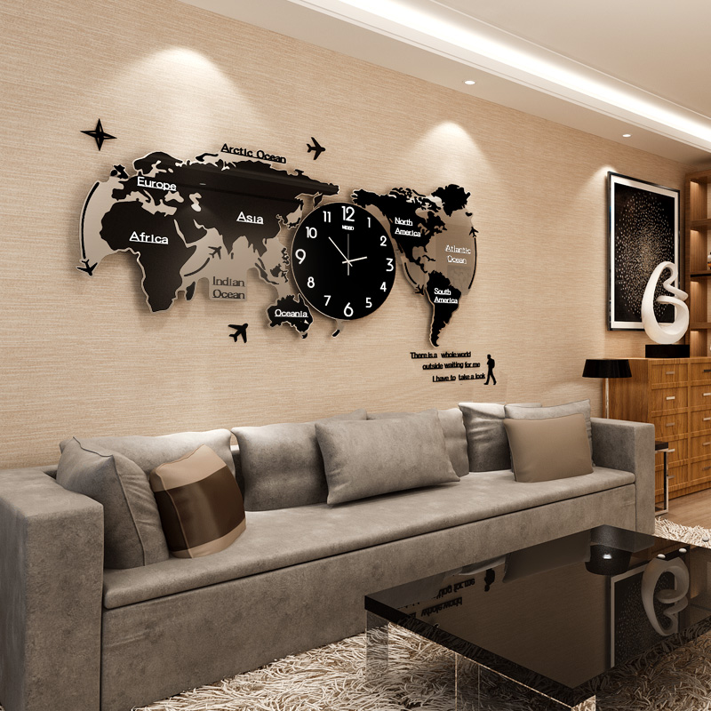 World Map Office Decoration Clock Wall Clock Living Room Modern Simple  Atmosphere Clock Creative Hanging Table