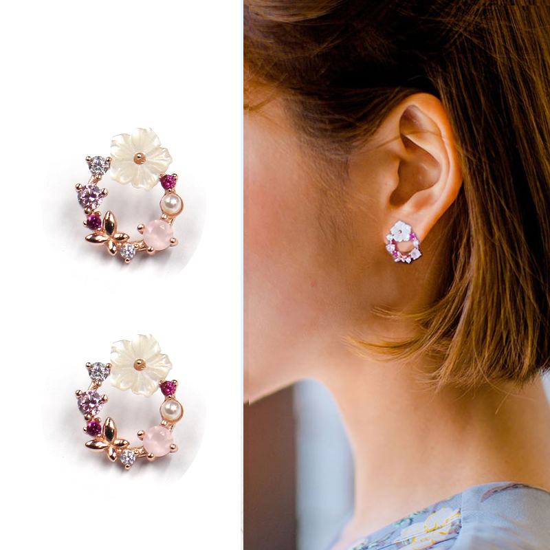 All S925 Sterling Silver Rose Gold Anese Wreath Flower Earrings Circle Zircon Pearl Fresh Cute