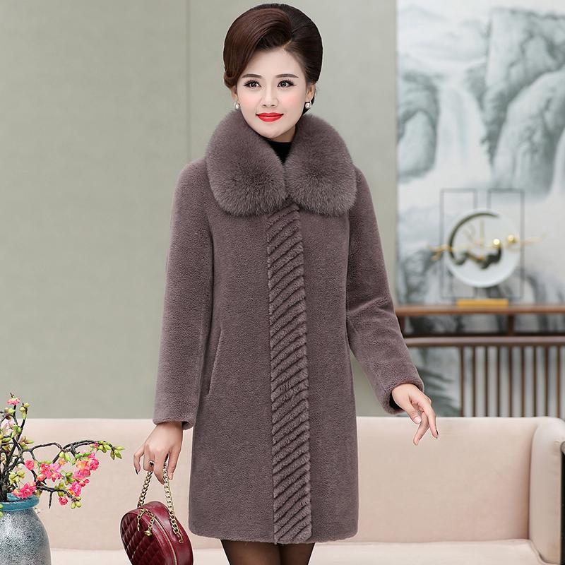 2021冬新款羊剪绒皮草女狐狸装中长款外套大衣中老年羊毛毛领妈妈