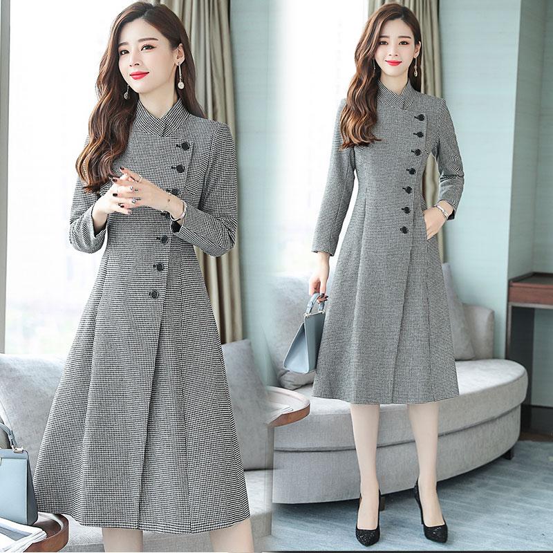 2019秋冬季新款女装韩版时尚长款修身千鸟格毛呢大衣立领呢子外套