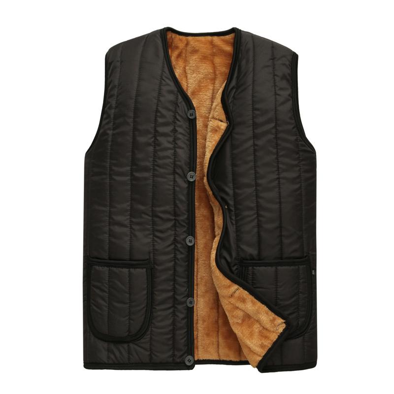 60 bộ quần áo nam cao tuổi na mùa đông ấm áp áo len dày hơn 70 áo vest người già Ông cụ 80 tuổi mặc áo vest - Áo vest cotton