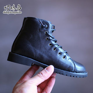 Girls cowhide low boots 2020 new spring and autumn Korean children's British style boots little girl Martin boots single boots