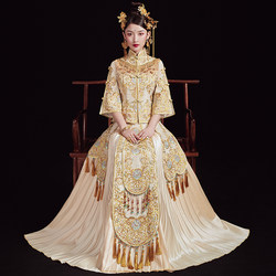 Champagne show Wo clothing bridal gown Chinese style 2021 new female golden slim wedding dress Chinese summer thin section