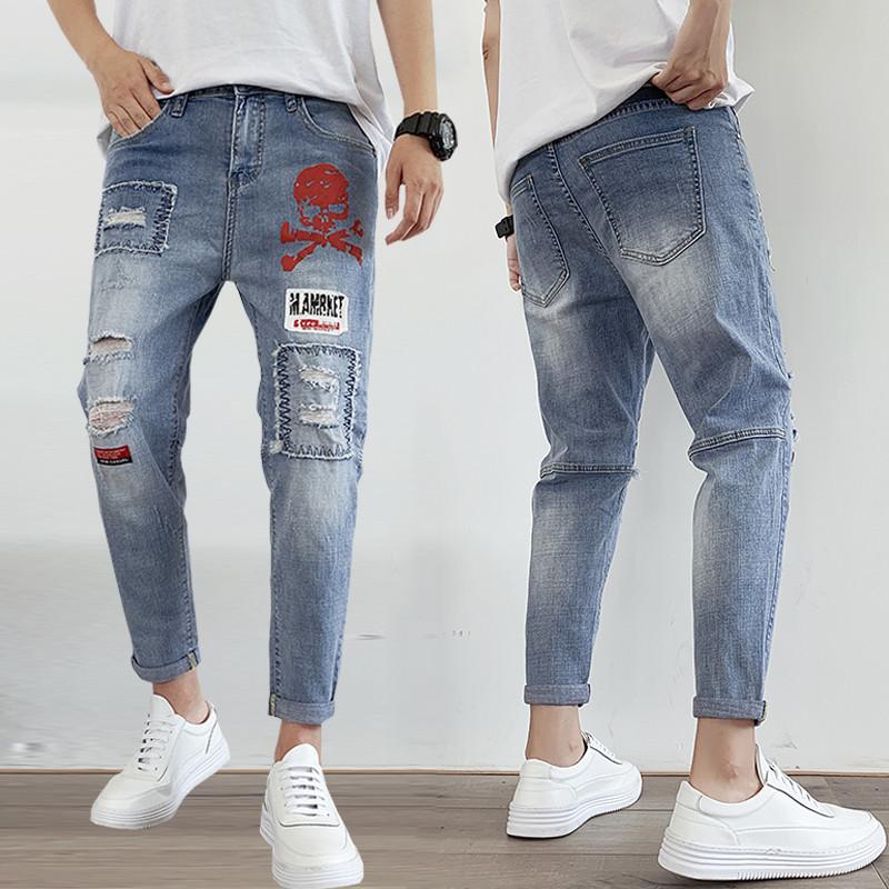 初中学生小脚裤14韩版修身13男孩12大童16春秋季15岁青少年牛仔裤