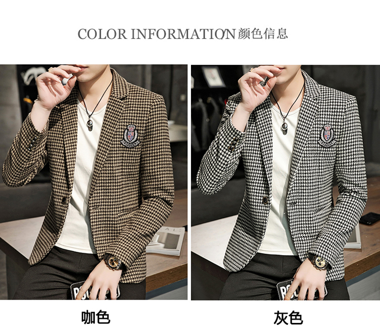 Young Thousand Birds grid slim suit Korean version of the trend Spring and Autumn men's social guy suit jacket British single west 49 Online shopping Bangladesh