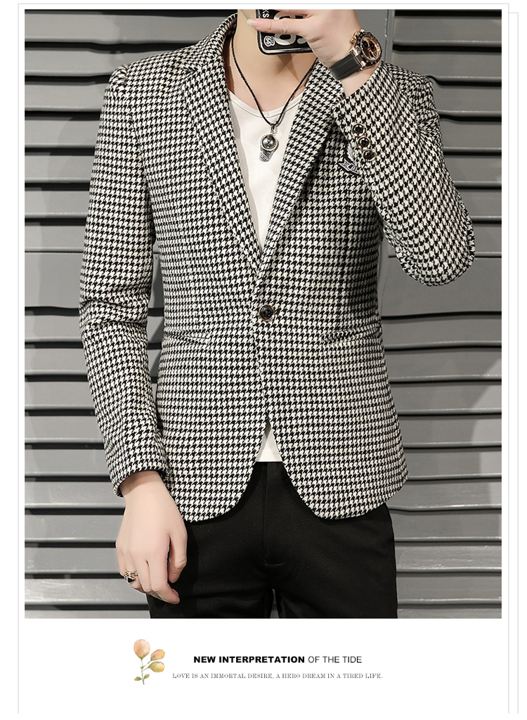 Young Thousand Birds grid slim suit Korean version of the trend Spring and Autumn men's social guy suit jacket British single west 58 Online shopping Bangladesh