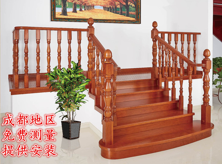 Factory Direct Staircase Handrail Solid Wood Staircase Railing Indoor  Staircase Column Paint Armrest Elbow Fence