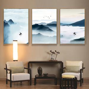沙发背景墙禅意水墨山水风景壁画墙画挂画