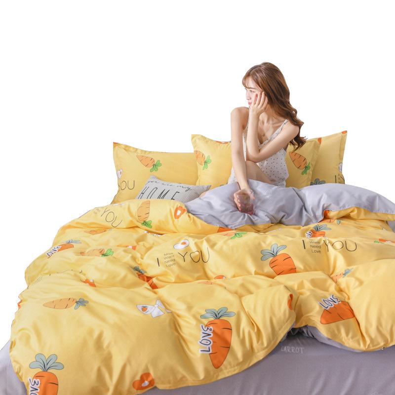 网红款床上四件套水洗棉学生宿舍床单被套三件套单人床上用品套件