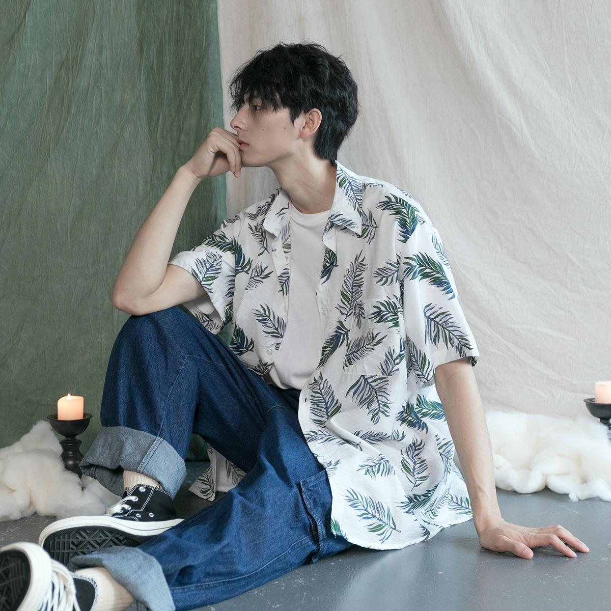 韩版ulzzang西海岸休闲度假风树叶印花衬衣潮人男女宽松短袖衬衫