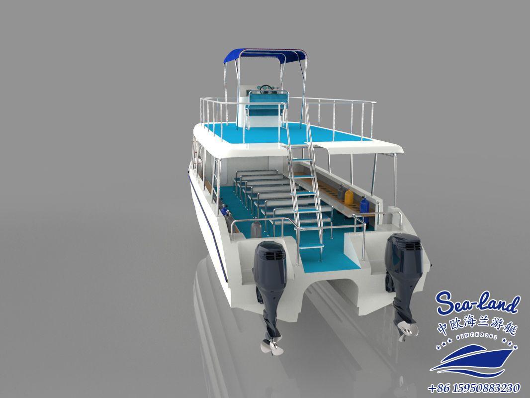 40英尺带驾驶塔的潜水船 冲锋艇 钓鱼艇 豪华游艇 玻璃钢艇定制