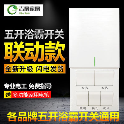 Bathroom Bathroom Switch 86 Type Five Slide Wind Heating Linkage General Toilet Ceiling Water Water Panel