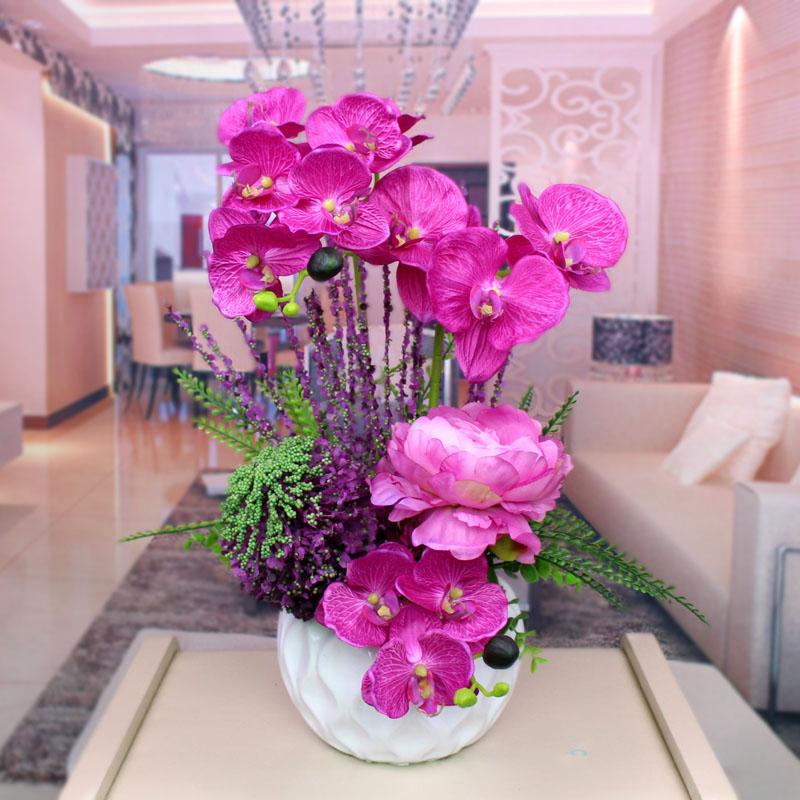 包邮仿真花蝴蝶兰套装假花绢花客厅摆件装饰花艺家居摆放花卉盆栽