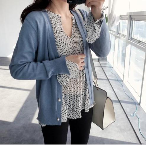 2016春装新款韩范宽松版长袖纯棉女衬衫中长款雪纺蝴蝶结领带上衣