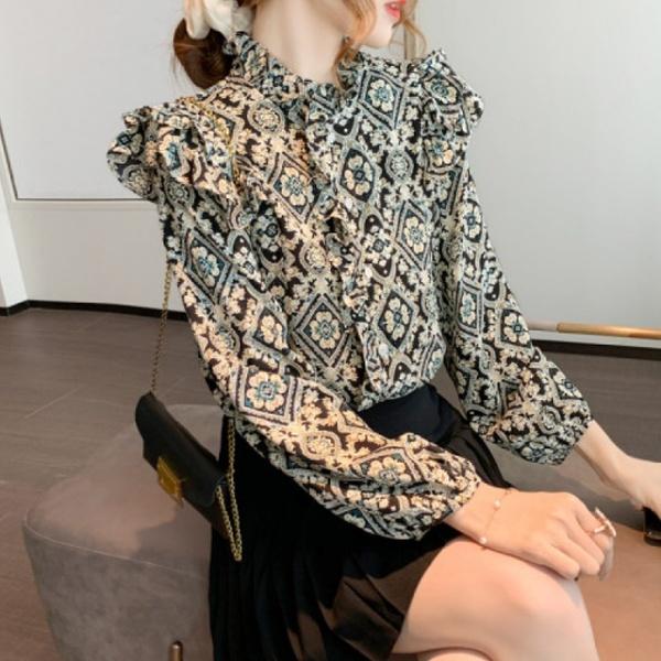 KTY11355#印花衬衫女设计感小众长袖上衣碎花雪纺衫上衣女