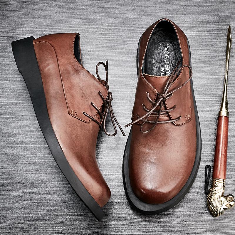 真皮手工大头休闲复古系带休闲男鞋鞋擦色工装商务平跟男单鞋