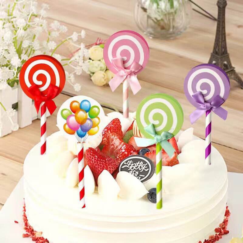 Baking Decoration Lollipop Birthday Cake Card Flag Insert A Pack Of 5