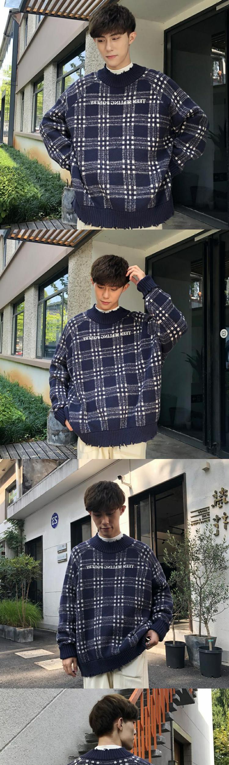 Áo len nam mùa thu và mùa đông ấm áp nam sinh viên Quần áo thời trang Hàn Quốc áo len dài tay áo len. - Cardigan