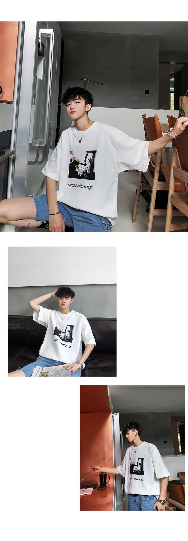 2019夏装新款抽象图案印花男士圆领短袖T恤 T203/P35 控价48