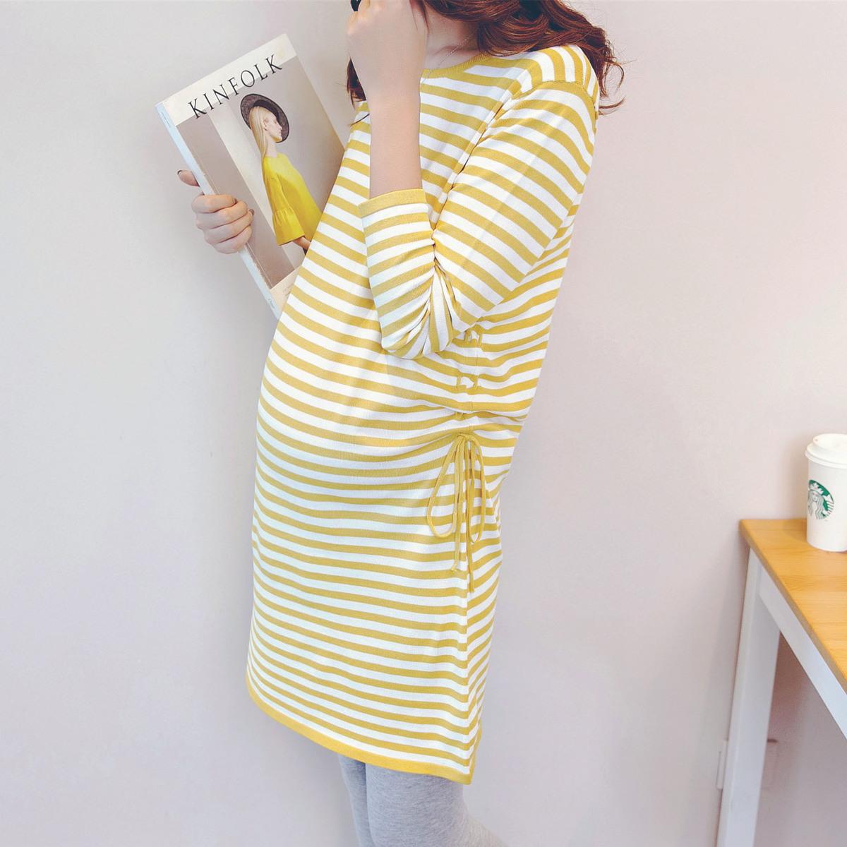 孕妇装春夏季上衣针织裙时尚中长款条纹T恤裙宽松冰麻孕妇连衣裙