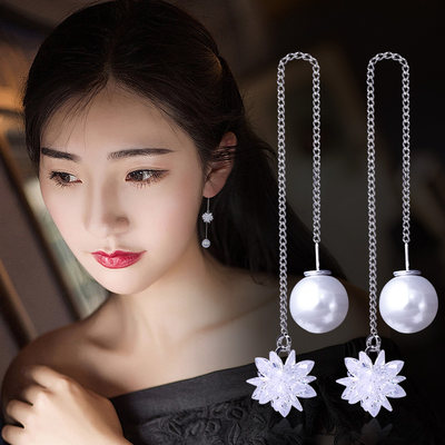 S925 silver crystal ice flower earrings Korean ear line long temperament simple ear crashed snorkel female accessories