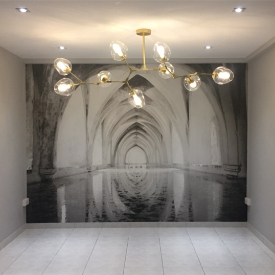 3D stereo vision extension space wallpaper industrial wind mural photography background wall studio restaurant wallpaper decoration