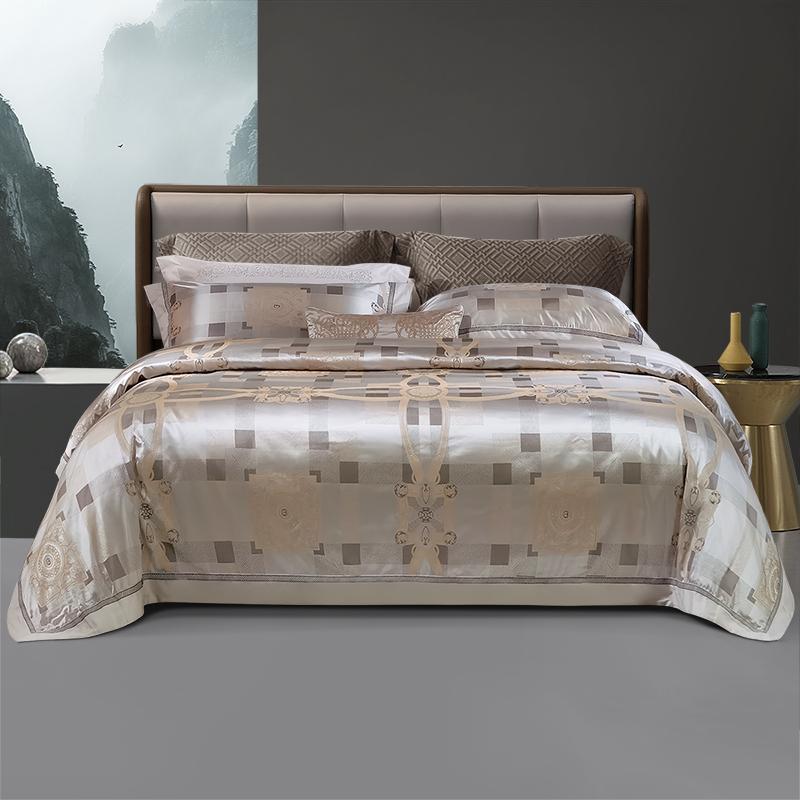 富安娜家纺涤莫代尔提绣四件套高级欧式风床单被套 线下专柜同款