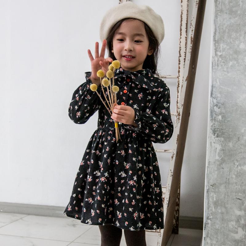 纯棉黑色连衣裙春秋2017新款韩版v纯棉女童女孩印花中小童裙子童装