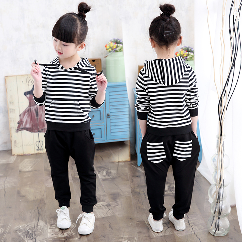 2017 Korean version of the autumn and summer girls suit in the big children casual sports children cute two-piece baby children's wear
